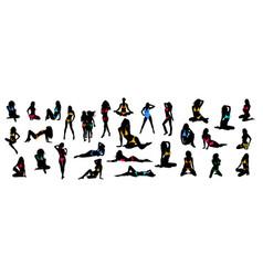 bikini girls silhouette collection vector image