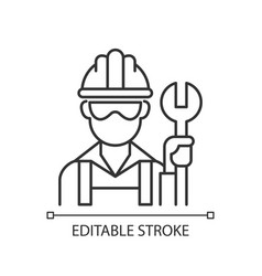 Blue collar worker linear icon vector