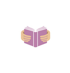 book hands reading education logo vector image