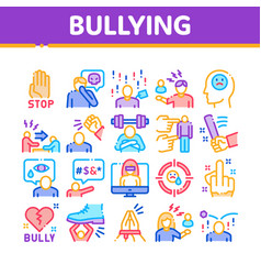 Bullying aggression collection icons set vector