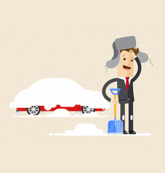 Businessman digs car out of snow winter vector
