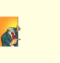 Businessman pointing horizontal orientation vector