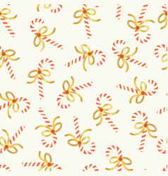 candy cane seamless pattern gold foil vector image