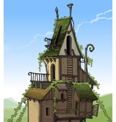 cartoon fairy house overgrown plants vector image
