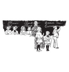 children in trouble students vintage engraving vector image