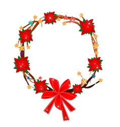 Christmas Wreath of Tree Branch with Poinsettia vector image