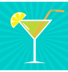 Cocktail in martini glass Sunburst background vector