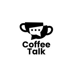 Coffee talk chat bubble forum community logo icon vector