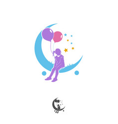 Colorful little girl reaching star logo vector