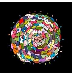 Colorful spiral mandala sketch for your design vector image