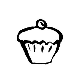 cupcake with berry icon grunge ink vector image