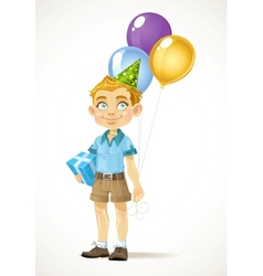 Cute little boy with a birthday gift and balloons vector