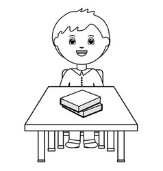 Cute little student boy with books in schooldesk vector