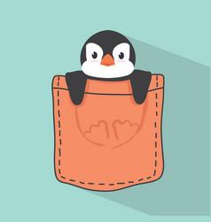 cute penguin in pocket vector image