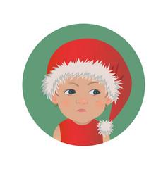 cute resentful baby santa claus emoticon vector image