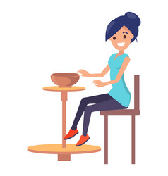 Cute woman creating a clay bowl poster vector