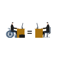 Disabled at work manager on wheelchair at table vector