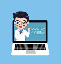 Doctor suggest patients through online in vector