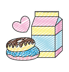 Doodle milk box with sweet donuts and heart vector