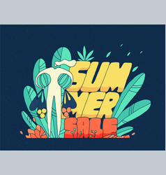 drawn person summer discounts bright modern style vector image