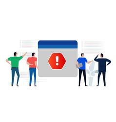 error code warning notification fatal sign vector image