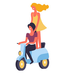 Female happy friends riding motor bike together vector
