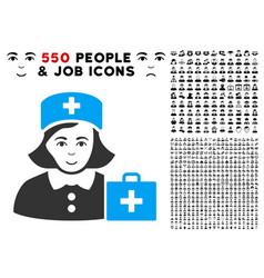 first-aid nurse icon with bonus vector image
