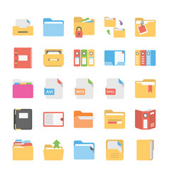 Flat icons set of files and folders vector