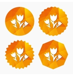 Flowers sign icon Roses symbol vector image
