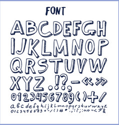 Fonts hand drawn elements alphabet written ink pen vector