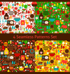 four flat barbecue patterns set vector image