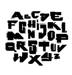 geometric modern cyber style font alphabet vector image