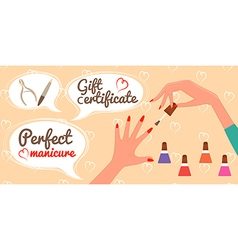 Gift Certificate Perfect Manicure Nail Salon vector image