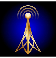 gold antenna icon on blue background vector image