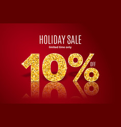 golden holiday sale 10 percent off vector image