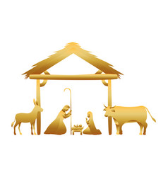 Golden holy family in stable with animals manger vector