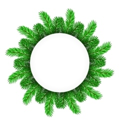 Green Fir Circle Frame vector image
