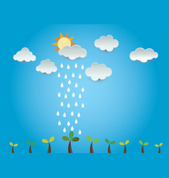 Growth tree cloud rain ideas design vector