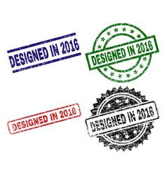 grunge textured designed in 2016 stamp seals vector image