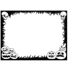 halloween frame with skulls and pumpkins vector image