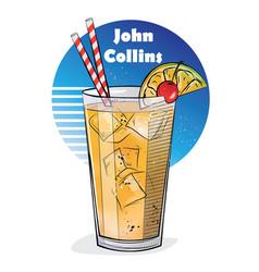 Hand drawn cocktail john collins vector