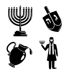 hanukkah icon set simple style vector image