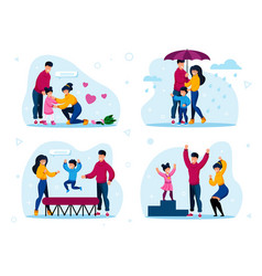 happy family routines activities concepts vector image