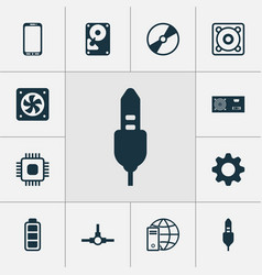 Hardware icons set collection network vector