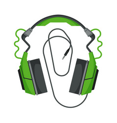 Headphones with cable accessory for music vector