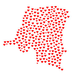 heart mosaic map of democratic republic of the vector image