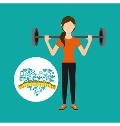 Heart weight loss sport person dumbbell vector