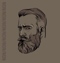 Hipster man portrait with beard and pattern vector