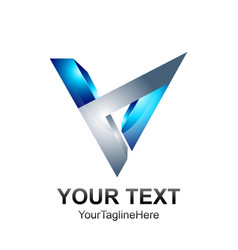 initial letter v logo template colored blue vector image
