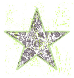 Ink hand drawn veggies star vector